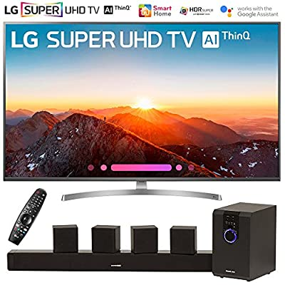 "LG 65SK8000PUA 65"" Class 4K HDR Smart AI SUPER UHD TV w/ThinQ (2018 Model) with Sharper Image 5.1 Home Theater System w/Subwoofer, Sound Bar & Satellite Speakers"