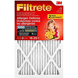 Filtrete MPR 1000 16 x 25 x 1 Micro Allergen Defense HVAC Air Filter, Attracts Small Particles like Pollen & Pet Dander, Delivers Cleaner Air Throughout Your Home, 2-Pack