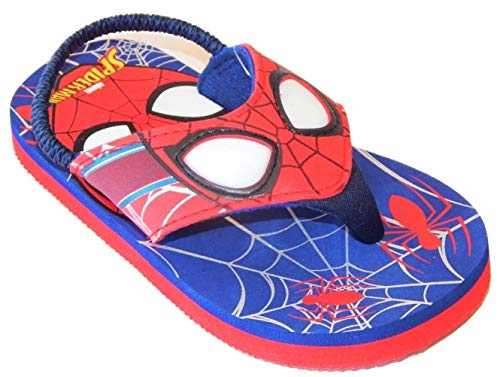 Spider-Man Marvel Avengers Light-Up Flip Flops Beach Sandals with Lights (Boys 13-1) -