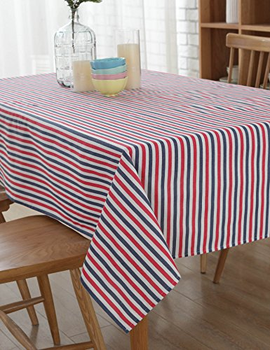 LOHASCASA Modern Fabric Gingham Fall Linen Rectangle Tablecloth Dining Table Picnic Tablecloths Use 2-4 People Seating Red Blue and White Striped 55x78 (Person Seating)