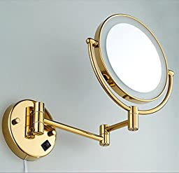 Bathroom enlarge double-sided tapeLEDLight Makeup Mirror/Mirror/Mirror/Folding rotating mirror/Full bronze mirrors telescopic child-B