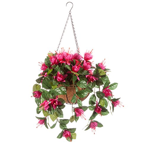 (OakRidge Fully Assembled Artificial Fuchsia Hanging Basket, Fuchsia - Polyester/Plastic Flowers in Metal/Coco Fiber Liner Basket for Indoor/Outdoor)
