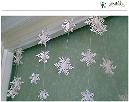 Get Orange 24PCS 3D Stereoscopic Snowflake Christmas Hanging Christmas Party Decoration String Paper Garland Wedding Birthday Party Baby Shower Background Winter Decorative Silver