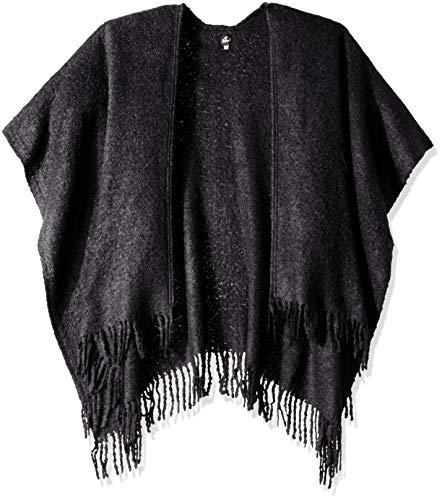 Echo Women's Solid Boucle Ruana Wrap, Black, One Size -