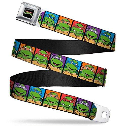 Teenage Mutant Ninja Turtles Colors (Buckle-Down Seatbelt Belt - Classic TMNT Face Blocks Black/Multi Color - 1.5