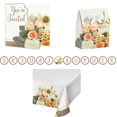 Rose Gold Bouquet Party Supply Pack! Bundle Includes Invitations, Favor Boxes, Banner & Tablecover for 8 (Invitations Bridal Bouquet)
