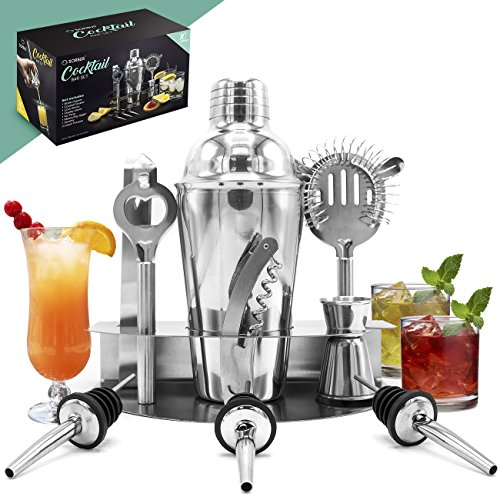 er and Mixing Set - Deluxe 10 Piece Bar Tool Set: Bottle Opener, Cork Screw, Ice Tong, Measuring Jigger, Strainer, Liquor Pourers, on Display Stand (Martini Pub Table)