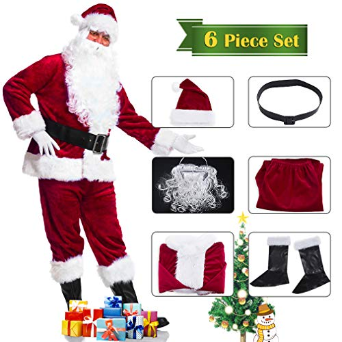 (KAIYANG Santa Claus Costume Adult Plush Santa Claus Suit Set Santa Cosplay)