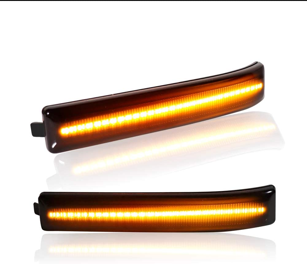 Miniclue Smoked Lens Amber LED Side Mirror Marker Lights Compatible with Ford F150 2009 to 2014