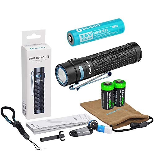 Olight S2R II rechargeable 1150 Lumens LED Flashlight EDC with Li-ion battery, flex magnetic USB charging cable and 2 X EdisonBright CR123A Lithium back-up Batteries bundle