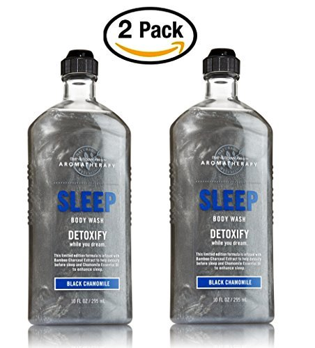 Bath and Body Works Aromatherapy Sleep Detoxify (LOT OF 2) Black Chamomile Body Wash/Foam Bath 10 fl oz (Black Chamomile)
