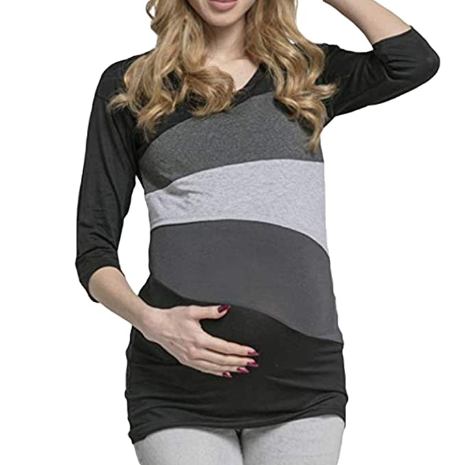 Fangcheng Maternidad Camiseta de Lactancia Camisetas de Lactancia para Mujeres Embarazadas Embarazo Enfermera Wear Tops Manga Larga: Amazon.es: Ropa y ...