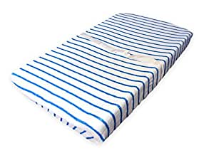 Baby Diaper Changing Pad Cover- Soft and Stretchy (White/Blue Stripes) by Niniche