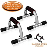 Push-Up Bars by Day 1 Fitness, Set of 2, for Men and Women, Chrome Plated with Extra Thick Foam Padded Grips - Ergonomic Push-Up Handles for Floor to Strengthen Arms, Core, Back - Home Gym Equipment