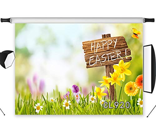 LB Spring Easter Backdrop 7x5ft Fabric Green Grass and Blooming Flowers Background Customized Children Kids Adult Portraits Photo Backdrop Studio Props,Washable