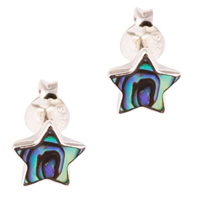 fa08dc93b DTPSilver - 925 Sterling Silver and Abalone Paua Shell Star Studs Earrings:  Amazon.co.uk: Jewellery