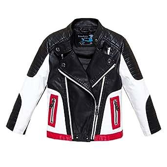 Budermmy Boys Leather Motorcycle Pilot Jackets Toddler Coats (2-3 year, Black and white)