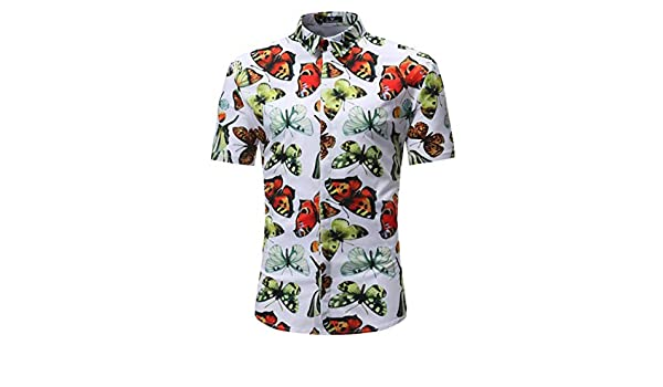 03c2043c57 Men's Floral Butterfly Print Hawaiian Shirt Summer Short Sleeve Beach Shirts  at Amazon Men's Clothing store: