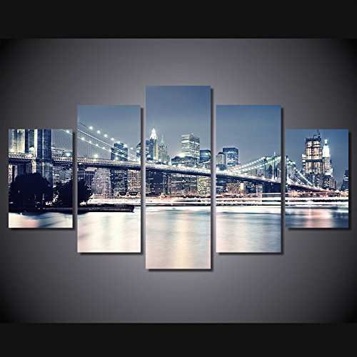 [LARGE] Premium Quality Canvas Printed Wall Art Poster 5 Pieces / 5 Pannel Wall Decor Beautiful Building Painting, Home Decor Pictures - With Wooden (Poster Canvas Art Painting)