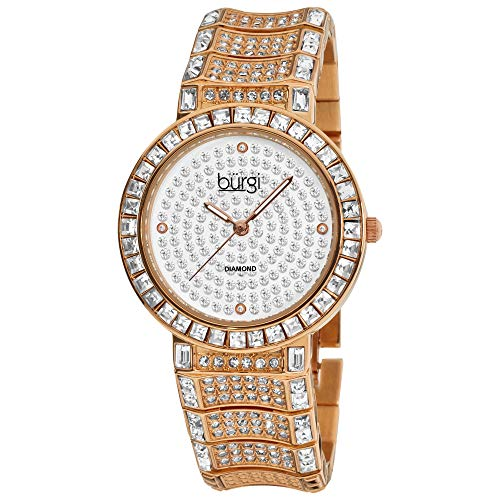Burgi Women s BUR060 Analog Display Japanese Quartz Two Tone Watch with a Sparkling Crystal Dial and Bracelet