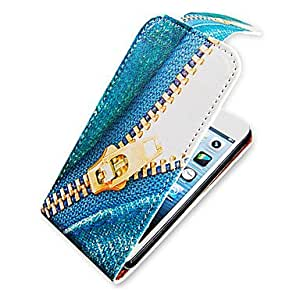 TY-Zipper Pattern Up-Down Turn Over PU Leather Case Bady completa para el iPhone 5/5S