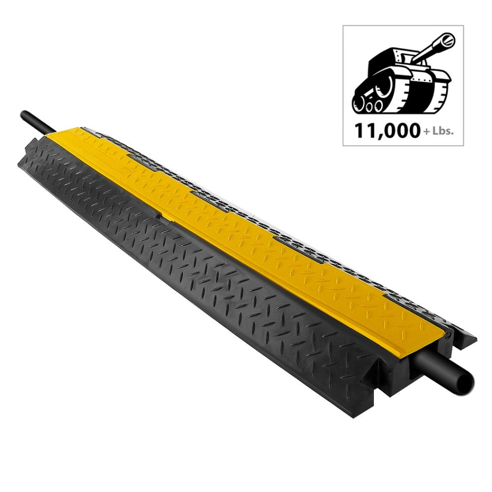 """Durable Cable Protective Ramp Cover - Supports 11000lbs Single Channel Heavy Duty Cord Protection W/ Flip-Open Top Cover, 39.4"""" X 5.11"""" X 1.8"""" Cable Concealer for Indoor Outdoor Use - Pyle PCBLCO102"""