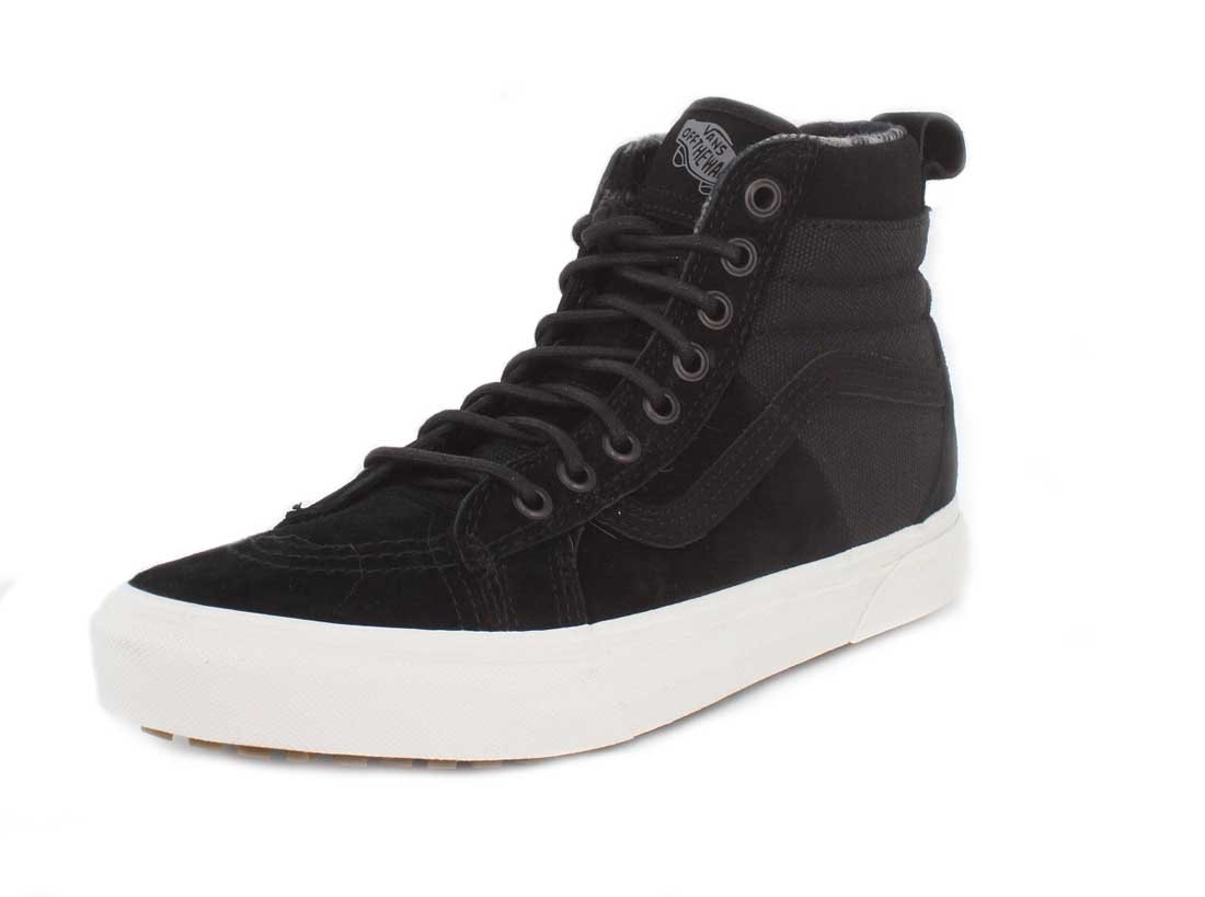 Vans Sk8-Hi Unisex Casual High-Top Skate Shoes, Comfortable and Durable in Signature Waffle Rubber Sole B01N5EOZ36 7 M US Women / 5.5 M US Men Black/Flannel