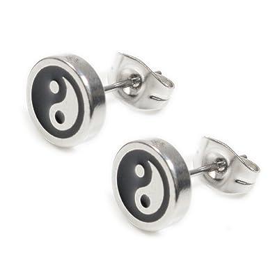 Amazon.com: Pendientes de acero inoxidable con forma de yin ...