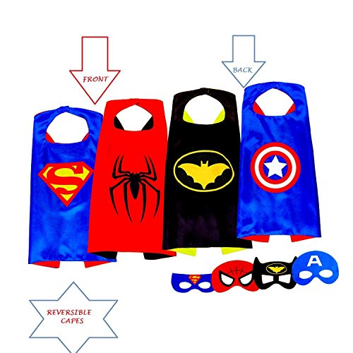 Superhero Capes for Kids, Girls & Boys | Pretend Play 2 Reversible Capes & 4 Masks Halloween, Birthdays Party Favors -