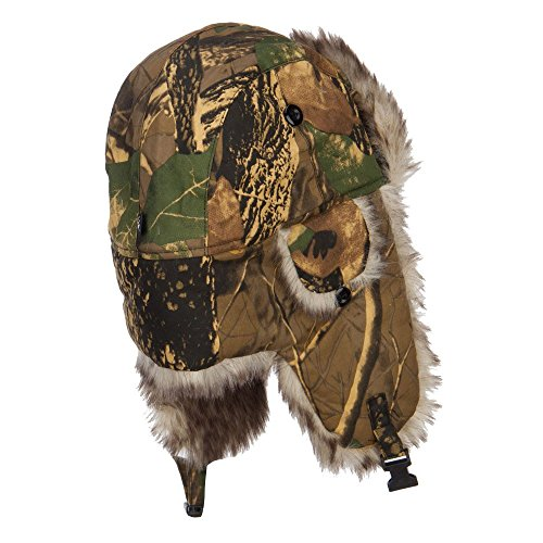 Camouflage Bomber Fur Trooper Hat - Maple OSFM