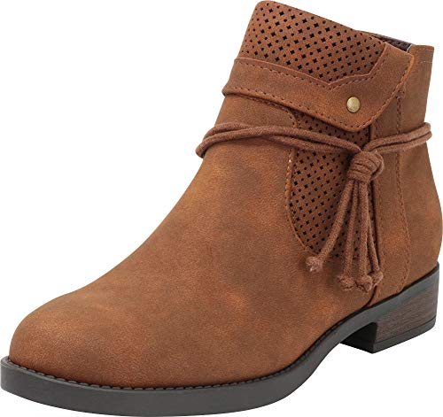 Cambridge Select Women's Round Toe Foldover Cuff Wraparound Tie Perforated Low Chunky Heel Ankle Bootie,8 B(M) US,Brown NBPU for $<!--$32.05-->