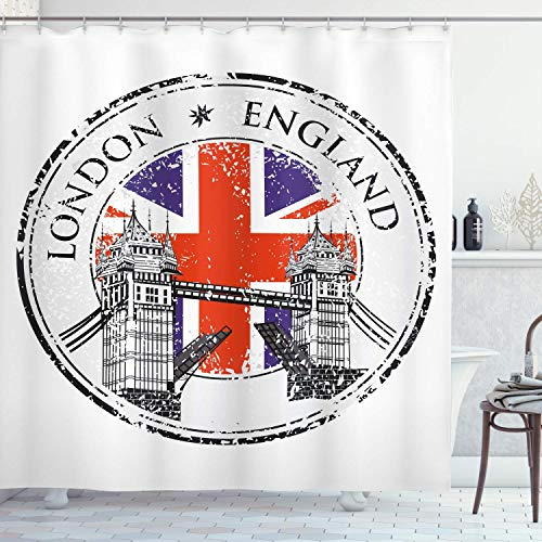 lovedomi British Shower Curtain London UK Stamp with Flag Nostalgic National Geographic 71x71inch Washable Waterproof Fabric Including 12 Plastic Hooks Apartment Decoration (Best Cat Repellent Uk)