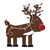Soulbreezecollection Red Nosed Reindeer Caribou Brooch Pin Christmas Jewelry (Silver-tone)