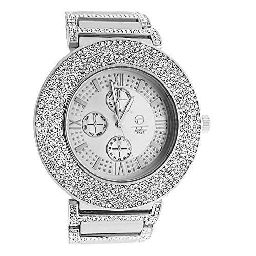 White 14k Gold Plated Pave Rapper Baller Style Simulated 4 Row Diamond Dial Big Face Chronograph Dial Metal Band - Watch Row Diamond