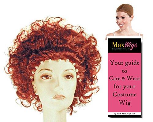 Bundle 3 items: Deluxe Queen Elizabeth I England Wig Tudor by Lacey, Wig Cap, MaxWigs Costume Wig Care Guide