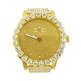 Kronos Master Mens All Gold Genuine Diamond with Lab Diamond Bezel and Band Watch