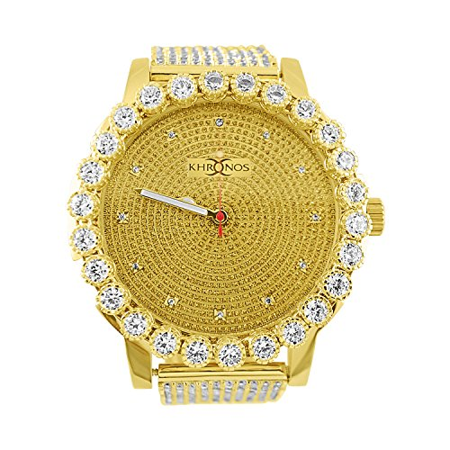 Kronos Master Mens All Gold Genuine Diamond with Lab Diamond Bezel and Band Watch by Kronos