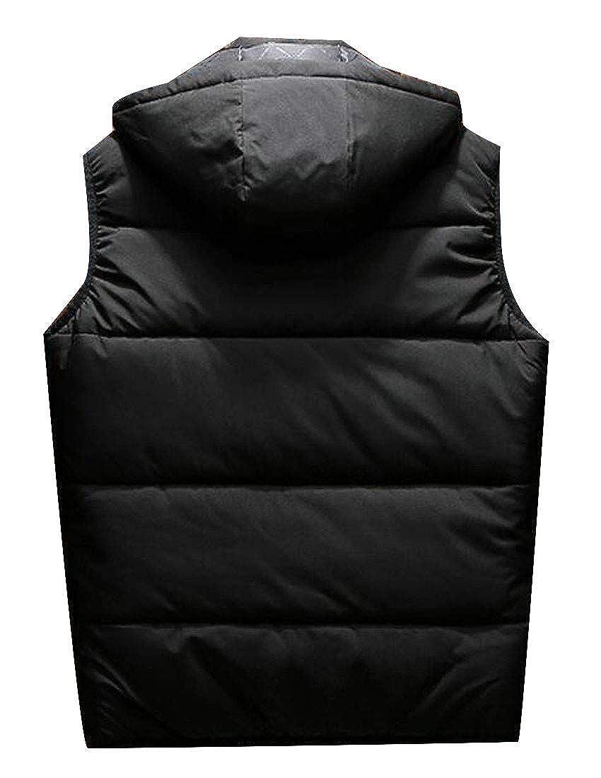 Wofupowga Men Slim Fit Zip Pocket Hooded Quilted Padded Drawstring Jacket Down Vest