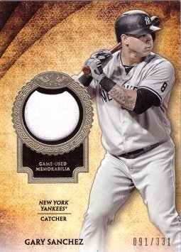 new products 15a25 cbfda 2017 Topps Tier One Relics #T1R-GSA Gary Sanchez Game Worn New York Yankees  Jersey Baseball Card - Only 331 made!