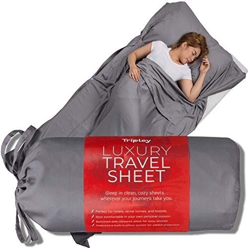 Tripley Luxury Travel Sheet for Hotels - Ultra Soft Camping Sheets - Tencel Satin Weave Adult Sleep Sack - Made from Natural Plant-Based Tencel Lyocell Fibers - Sleep in a Clean Sheet Everywhere