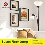Adjustable Black Floor Lamp with Reading Light by