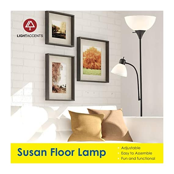 """Adjustable Floor Lamp with Reading Light by Light Accents - Susan Modern Standing Lamp for Living Room/Office Lamp 72"""" Tall - 150-watt with Side Reading Light Corner Lamp (Black) - Incandescent torchiere floor lamp for small- to medium-size rooms. Great as a dorm room floor lamp, floor lamps for bedrooms, floor lamp for living rooms. Sleek Black-painted finish with a gently curved white-frosted plastic shade Fully Adjustable Side Reading light, Use as a kids floor lamp floor lamps for bedrooms - living-room-decor, living-room, floor-lamps - 51FnBjupuXL. SS570  -"""