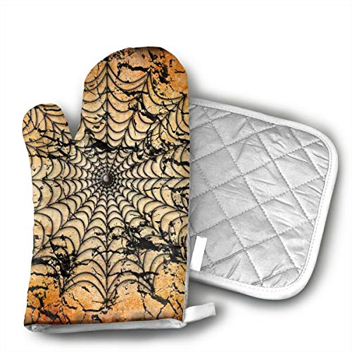 KEIOO Halloween Spider Web Background Oven Mitts and Potholders Heat Resistant Set of 2 Kitchen Set Non-Slip Grip Oven Gloves BBQ Cooking Baking Grilling]()