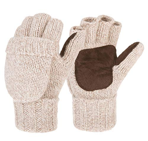 Eianru New Winter Knitted Suede Thinsulate Thermal Insulation Mittens Gloves (L, Beige - Thermal Thinsulate Womens