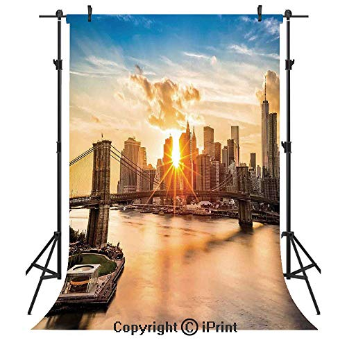NYC Decor Photography Backdrops,Cityscape of Brooklyn Bridge and Lower Manhattan Hudson River Center of Fashion Art and Culture,Birthday Party Seamless Photo Studio Booth Background Banner 5x7ft,Multi