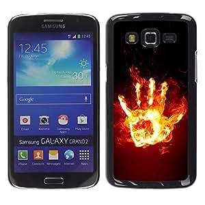 Exotic-Star ( Funny Fire Hand ) Fundas Cover Cubre Hard Case Cover para Samsung Galaxy Grand 2 II / SM-G7102 / SM-G7105