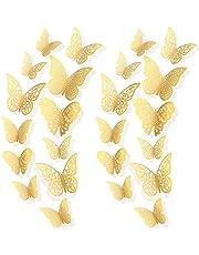 AIEX 72 Stuks 3d Vlinderstickers 3 Maten Muurstickers Kamer Wanddecoratie Voor Slaapkamer Feest Bruiloft (Goud)