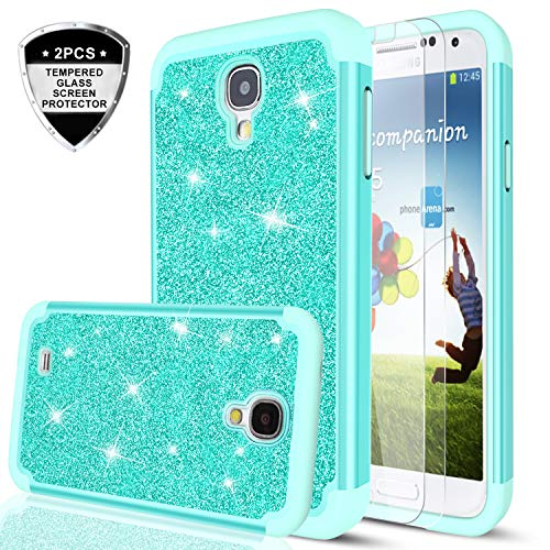 S4 Case, Galaxy S4 Case with Tempered Glass Screen Protector [2 Pack],LeYi Glitter Bling Girls Women Design Dual Layer Hybrid Heavy Duty Protective Phone Case Cover for Samsung Galaxy S4 TP Mint