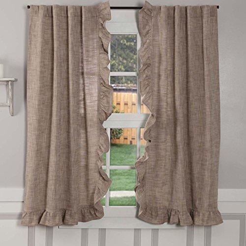 Ashley Taupe Ruffled Panel Curtains, Set of 2, 63