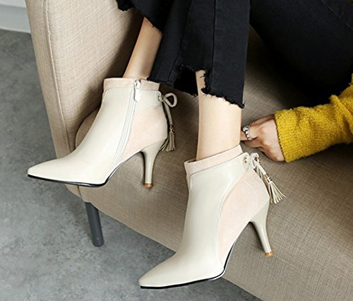Sexy Franges Bottines Beige Wiqfyp Femme Bout Aisun Low Boots Pointu anxBRn8
